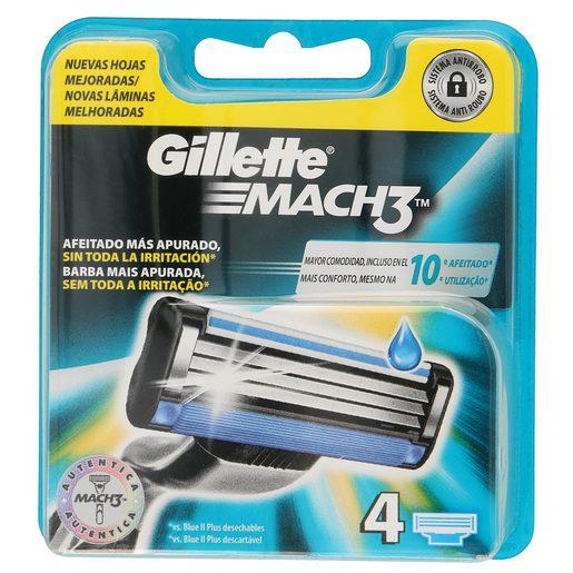 GILLETTE Mach3 maquinilla de afeitar recambio blíster 4 uds