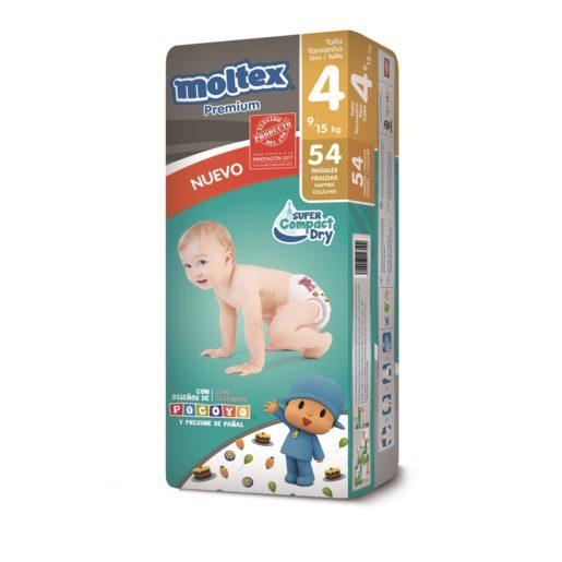 MOLTEX Premium pañales 9-15 kgs talla 4 paquete 54 uds