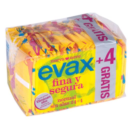 EVAX fina y segura compresa normal sin alas bolsa 24 ud