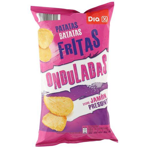 DIA patatas fritas onduladas jamon bolsa 150 gr