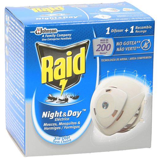 RAID Night&day insecticida eléctrico antimosquitos difusor + recambio caja 1 ud
