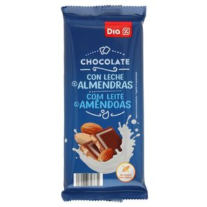 DIA chocolate con leche y almendras partidas tableta 150 gr