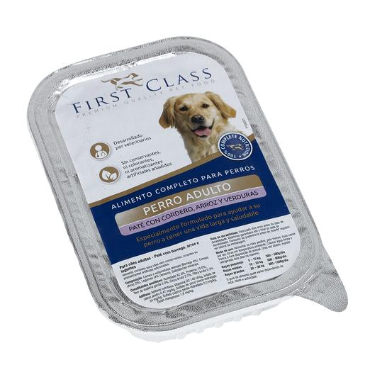 FIRST CLASS paté para perros adultos con cordero arroz y verduras 400 gr