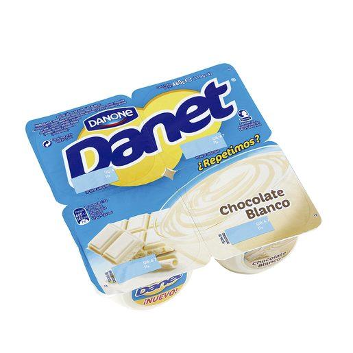 DANONE DANET natillas chocolate blanco pack 4 unidades 115 gr