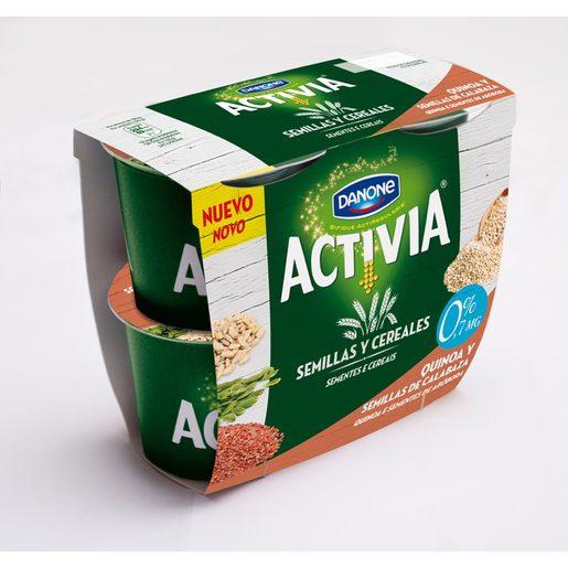 DANONE ACTIVIA yogur con quinoa y semillas de calabaza 0% pack 4 uds 120 gr