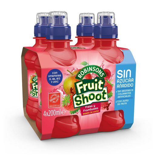 FRUIT SHOOT bebida de zumo de fresa y frambuesa pack 4 botellas 20 cl