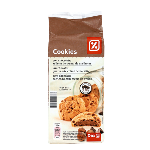 DIA cookies con chocolate rellenas de crema de avellana bolsa 200 gr