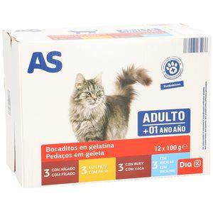 AS bocaditos en gelatina para gatos adultos 12 x 100 gr