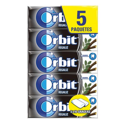 ORBIT chicle grageas sabor regaliz paquete 5 uds