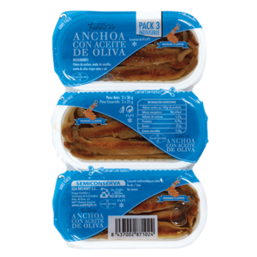 CLAROS filetes de anchoa en aceite oliva pack 3 latas 75 gr
