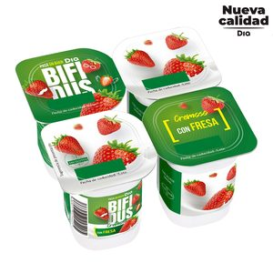 DIA BíFIDUS cremoso con fresa pack 4 unidades 125 gr