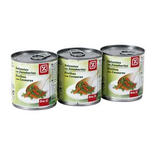 DIA guisantes con zanahorias pack 3 latas 130 gr