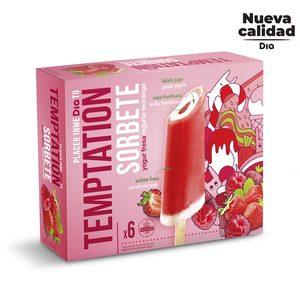 DIA TEMPTATION helado de yogur sabor fresa y frambuesa caja 6 uds 312 gr