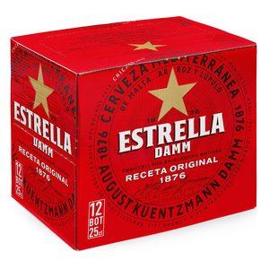 ESTRELLA DAMM cerveza rubia nacional pack 12 botellas 25 cl